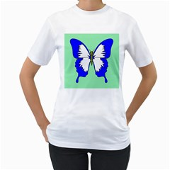Draw Butterfly Green Blue White Fly Animals Women s T Shirt (white) (two Sided)