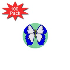 Draw Butterfly Green Blue White Fly Animals 1  Mini Buttons (100 Pack)