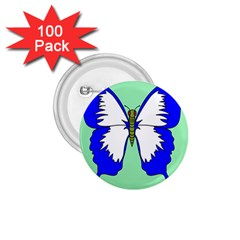 Draw Butterfly Green Blue White Fly Animals 1.75  Buttons (100 pack)