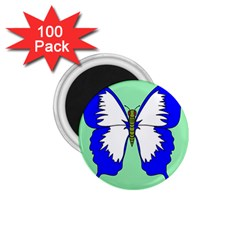 Draw Butterfly Green Blue White Fly Animals 1.75  Magnets (100 pack)
