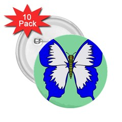 Draw Butterfly Green Blue White Fly Animals 2 25  Buttons (10 Pack)