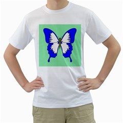 Draw Butterfly Green Blue White Fly Animals Men s T-Shirt (White) (Two Sided)