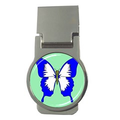 Draw Butterfly Green Blue White Fly Animals Money Clips (round)
