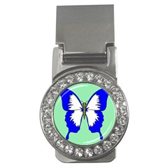 Draw Butterfly Green Blue White Fly Animals Money Clips (CZ)