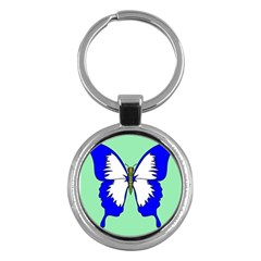 Draw Butterfly Green Blue White Fly Animals Key Chains (Round)