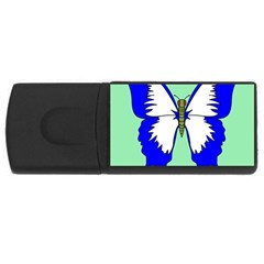 Draw Butterfly Green Blue White Fly Animals USB Flash Drive Rectangular (1 GB)