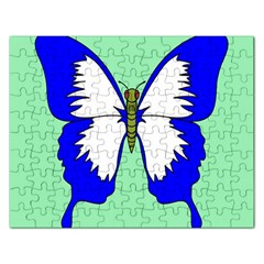 Draw Butterfly Green Blue White Fly Animals Rectangular Jigsaw Puzzl