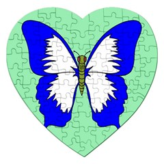 Draw Butterfly Green Blue White Fly Animals Jigsaw Puzzle (heart)