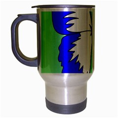 Draw Butterfly Green Blue White Fly Animals Travel Mug (Silver Gray)