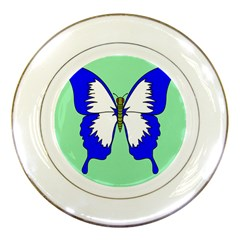 Draw Butterfly Green Blue White Fly Animals Porcelain Plates