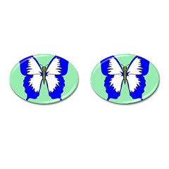 Draw Butterfly Green Blue White Fly Animals Cufflinks (Oval)