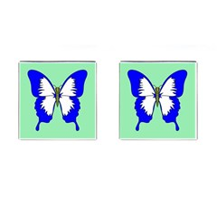 Draw Butterfly Green Blue White Fly Animals Cufflinks (square)