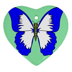 Draw Butterfly Green Blue White Fly Animals Heart Ornament (Two Sides)