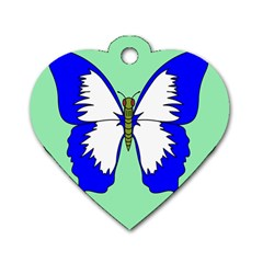 Draw Butterfly Green Blue White Fly Animals Dog Tag Heart (Two Sides)