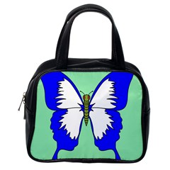 Draw Butterfly Green Blue White Fly Animals Classic Handbags (One Side)