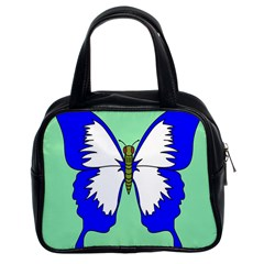 Draw Butterfly Green Blue White Fly Animals Classic Handbags (2 Sides)