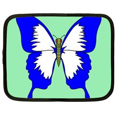 Draw Butterfly Green Blue White Fly Animals Netbook Case (XXL)