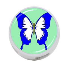 Draw Butterfly Green Blue White Fly Animals 4-Port USB Hub (One Side)