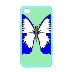 Draw Butterfly Green Blue White Fly Animals Apple iPhone 4 Case (Color)