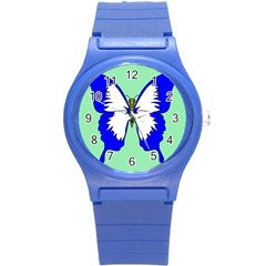 Draw Butterfly Green Blue White Fly Animals Round Plastic Sport Watch (S)