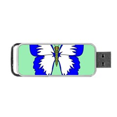 Draw Butterfly Green Blue White Fly Animals Portable Usb Flash (one Side)