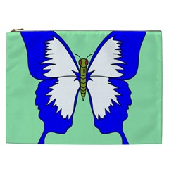 Draw Butterfly Green Blue White Fly Animals Cosmetic Bag (XXL)