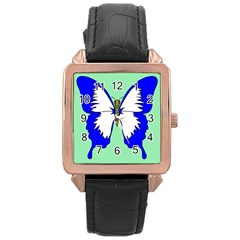 Draw Butterfly Green Blue White Fly Animals Rose Gold Leather Watch