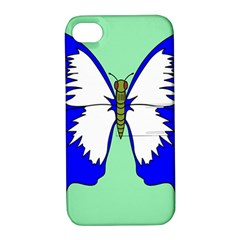 Draw Butterfly Green Blue White Fly Animals Apple Iphone 4/4s Hardshell Case With Stand