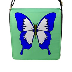 Draw Butterfly Green Blue White Fly Animals Flap Messenger Bag (L)