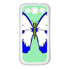 Draw Butterfly Green Blue White Fly Animals Samsung Galaxy S3 Back Case (White)