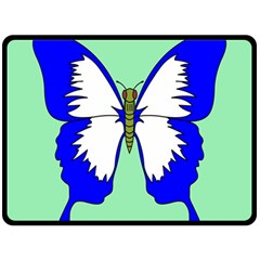 Draw Butterfly Green Blue White Fly Animals Double Sided Fleece Blanket (Large)