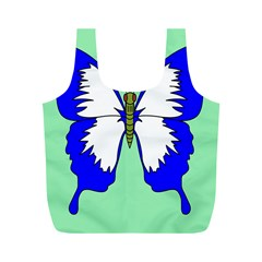 Draw Butterfly Green Blue White Fly Animals Full Print Recycle Bags (M)