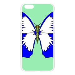 Draw Butterfly Green Blue White Fly Animals Apple Seamless iPhone 6 Plus/6S Plus Case (Transparent)