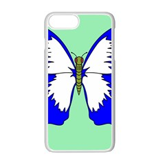 Draw Butterfly Green Blue White Fly Animals Apple Iphone 7 Plus White Seamless Case