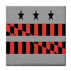 Falg Sign Star Line Black Red Tile Coasters