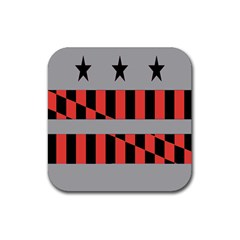 Falg Sign Star Line Black Red Rubber Coaster (square)