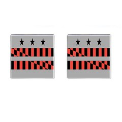 Falg Sign Star Line Black Red Cufflinks (square)