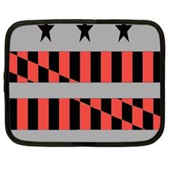 Falg Sign Star Line Black Red Netbook Case (Large)