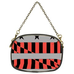 Falg Sign Star Line Black Red Chain Purses (One Side)