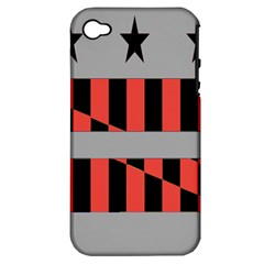 Falg Sign Star Line Black Red Apple Iphone 4/4s Hardshell Case (pc+silicone)