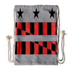 Falg Sign Star Line Black Red Drawstring Bag (Large)