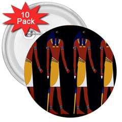 Egyptian Mummy Guard Treasure Monster 3  Buttons (10 Pack)