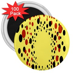 Gradients Dalmations Black Orange Yellow 3  Magnets (100 pack)