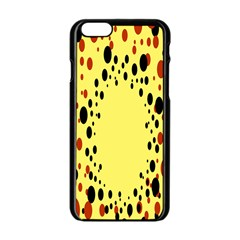 Gradients Dalmations Black Orange Yellow Apple iPhone 6/6S Black Enamel Case