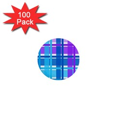 Gingham Pattern Blue Purple Shades Sheath 1  Mini Buttons (100 Pack)