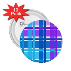 Gingham Pattern Blue Purple Shades Sheath 2 25  Buttons (10 Pack)