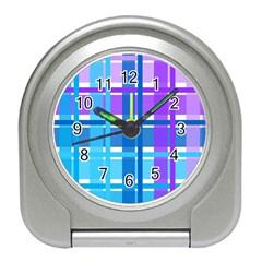 Gingham Pattern Blue Purple Shades Sheath Travel Alarm Clocks