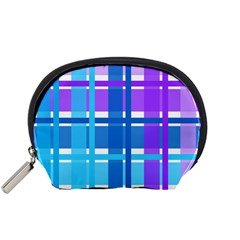 Gingham Pattern Blue Purple Shades Sheath Accessory Pouches (Small)
