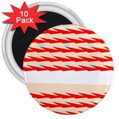 Chevron Wave Triangle Red White Circle Blue 3  Magnets (10 Pack)