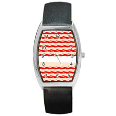 Chevron Wave Triangle Red White Circle Blue Barrel Style Metal Watch